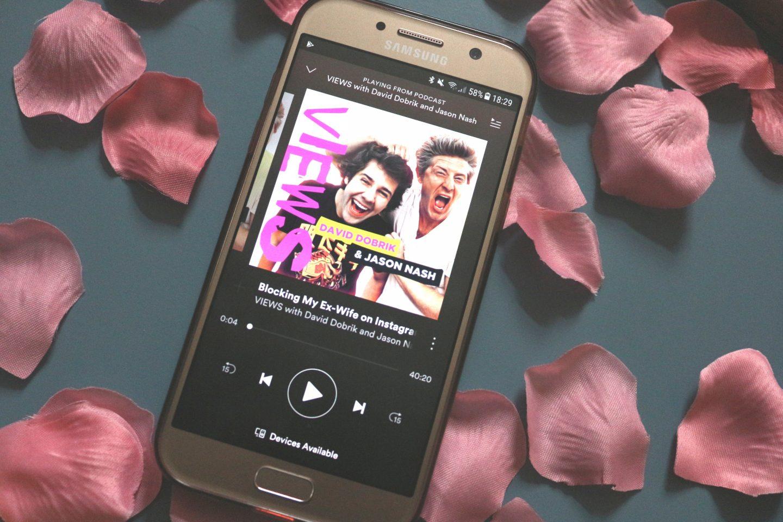 podcast views david debris jason nash views spotify samsung a5 2017 flatlay