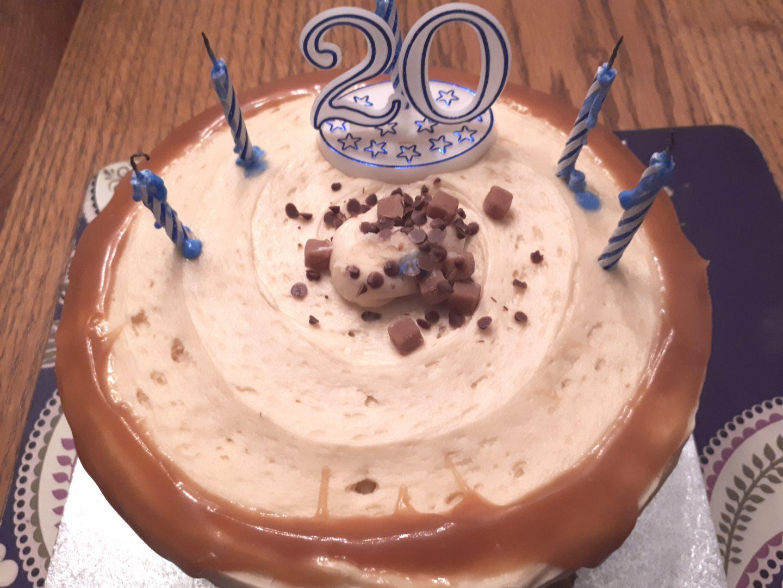 birthday twenty salted caramel cake